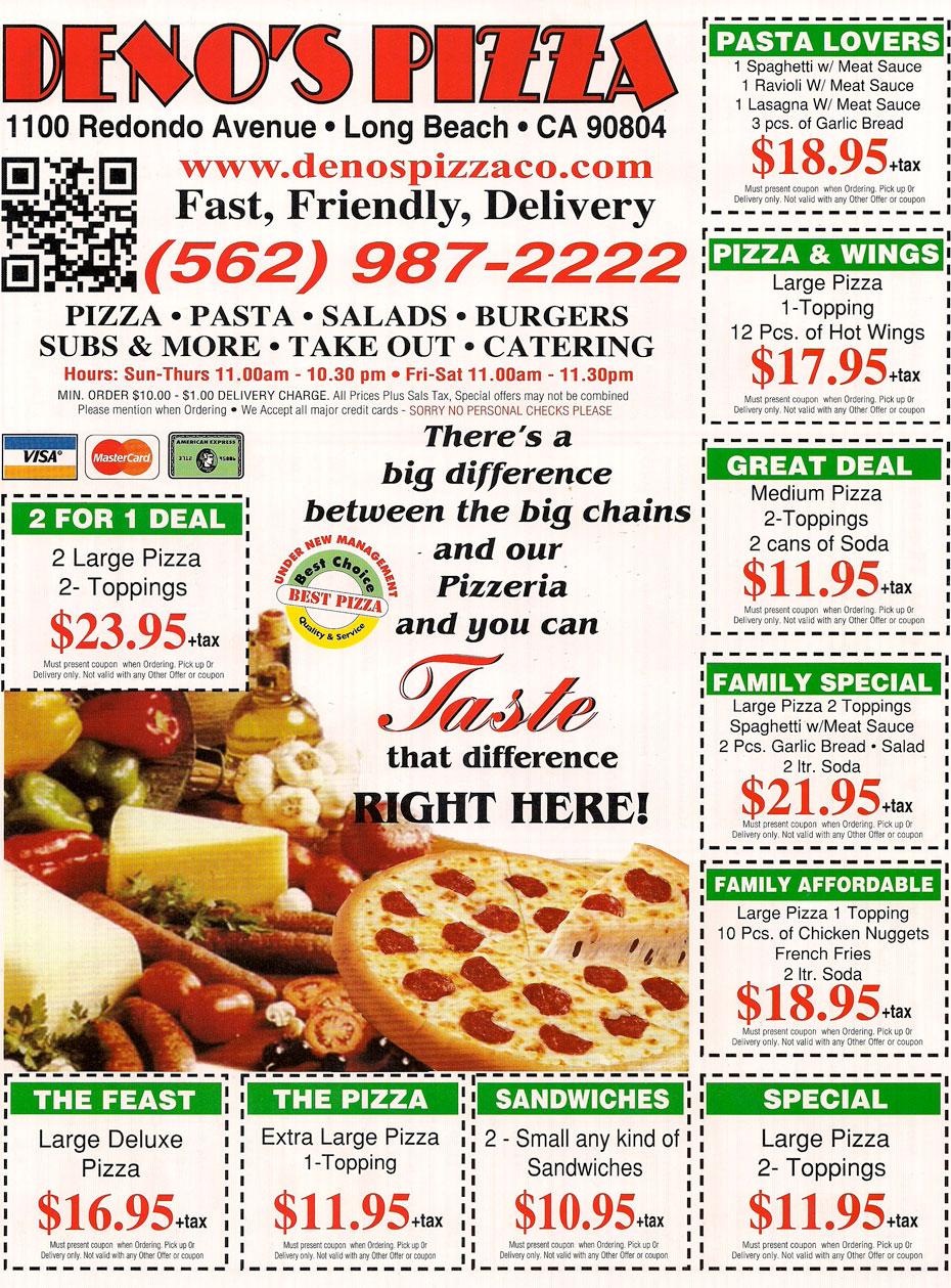 denos pizza menu